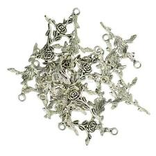 20pcs/ Lots Tibetan Silver Tone Rose Flower Cross Charms Pendants 35x23mm