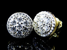 Sterling Silver White Lab Diamond Snowball Earrings in Yellow Gold Finish 10mm