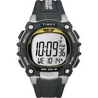Timex T5E231 Ironman Traditional 100-Lap Black/Silver/Yellow Watch