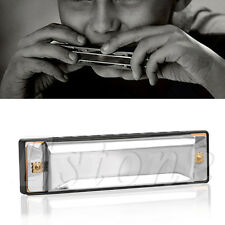 BLUES 10 HOLES HARMONICA KEY OF C MUSICAL INSTRUMENT STAINLESS STEEL WITH CASE