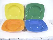 "Flirt set of (4) 8-3/8"" beautiful square Pasta Bowls in green, blue,yellow, pink"