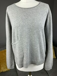 White Stuff Cashmere Blend Grey Pocket Jumper Womens Size Uk 10 Vgc #M1