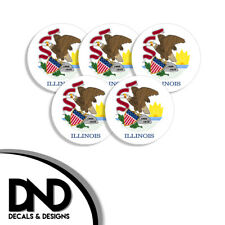Illinois State Flag IL Circle Sticker USA Helmet Decal 5 Pack 2.5in
