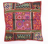 """Indian Patchwork Hand Embroidered 16"""" Cushion Throw Vintage Pillow Cases Cover"""