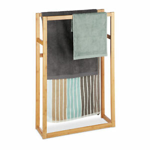 Freestanding Bamboo Towel Rack with 3 Rails, Clothes Valet Stand, Towel Holder