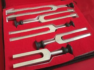 MEDICAL TUNING FORKS SET 5 Different pitches C128,C256,C512,C1024,C2048