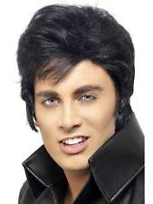 Short Black Wavy Wig, Elvis Presley Wig, Fancy Dress Accessory #AU