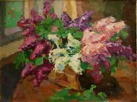 Russian Ukrainian Oil Painting Impressionism Still Life flowers lilac window