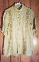 Tommy Bahama Men's Short Sleeve 100% Linen Button Front Shirt MEDIUM embroidered