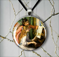 GIRLS AT PIANO ART PAINT BY RENOIR #8 PENDANT NECKLACE -ftg6Z
