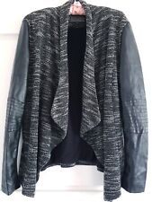 Ladies New Look Black Faux Leather Sleeves Cotton Open Front Jacket Size 14