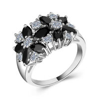Women 925 Silver Jewelry Black & White Sapphire Wedding Ring Size 6-10