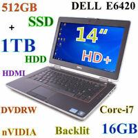 """# (3D-Design) DELL E6420 i7-2.7GHz 512GB SSD + 1TB DVDRW 16GB nVIDIA 14"""" Backlit"""