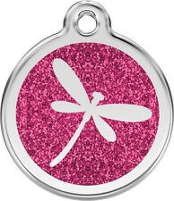 Glitter Enamel Dragon Fly On Solid Stainless Steel Personalised ID Dog/Cat Tag