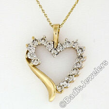 "10k Yellow Gold 16"" .60ctw Round Prong Set Diamond Open Heart Pendant Necklace"