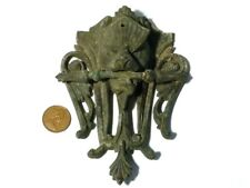 Antique Bronze Lion Griffin Head Holding Flaming Torch Furniture Fitting a/f