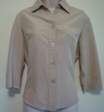 Womens small beige button down collar v-neck shirt blouse top 3/4 sleeve