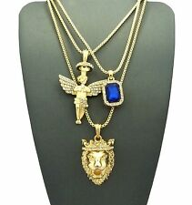 ICED OUT KING LION & ANGEL & SAPPHIRE PENDANT W/ BOX CHAIN 3 NECKLACE SET GN043G