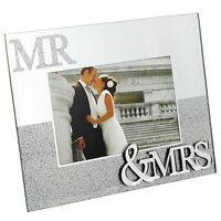 MR & MRS MIRROR GLITTER PICTURE PHOTO FRAME 6 X 4'' GIFT WEDDING ANNIVERSARY