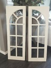 Pair Antique Vintage 9 Lite Glass Pane Arched Cottage Cabinet Cupboard Doors
