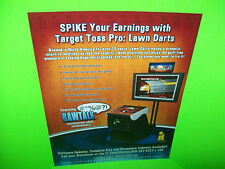 Incredible Tech 2009 Target Toss Pro LAWN DARTS Original Video Arcade Game Flyer
