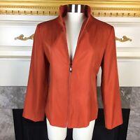New FENDI Womens 46 Orange Long Sleeve Full Zip Silk Lined Jacket