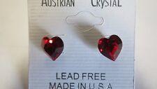 Red Heart Rhinestone Stud Earrings Made with Swarovski Stones (C-13)