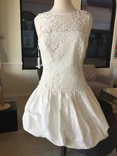 Rebecca Taylor NWT Elegant Dress Silk Off White Size 6 Sl Lace & Taffeta Combo