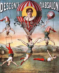 Descente Circus, Old Vintage Antique, Magic, Circus, HD Art Print or Canvas