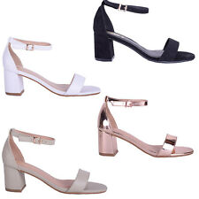 Womens Ladies Low Block High Heel Fashion Occasion Strap Party Sandal Shoe Size