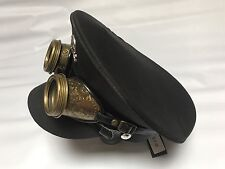 Military Black Cotton Hat With Metal Skull And Rustic Brass Colour Goggles 59 Cm
