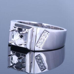 14K WHITE GOLD PAVE SEMI-MOUND DIAMOND ENGAGEMENT MENS RING  6.5MM ROUND CUT