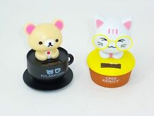 Solar Powered Dancing Toys Bear Black Cup & Cat Yellow Cupcake Bobble Head USA