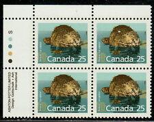 Canada #1161 25¢ Beaver Mammal Definitive Ul Inscription Block Mnh