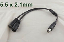 DC Power 1 Male Plug To 2 Female Jack Cable Splitter 5.5x 2.1mm Adapter For CCTV