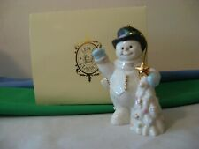 Lenox 2002 Porcelain Christmas -Snowman w/ Xmas Tree Ornament w/Box
