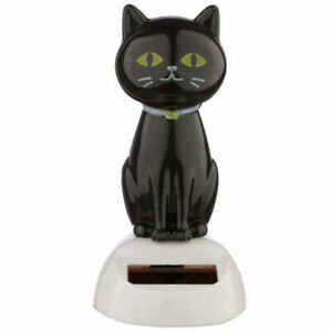 NOVELTY SOLAR POWERED DANCING LUCKY BLACK CAT DASHBOARD TOY, HOME OR CAR