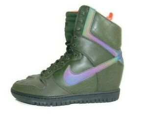 Nike Sneakers Green Crimson Leather Dunk Sky Hi 2.0 SneakerBoot Womens 9 807401