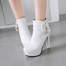 Ladies Ankle Boots Bowknot Metal Decor High Heels Platform Casual Shoes Grace