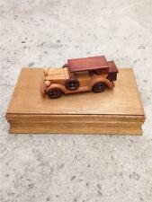 Vintage London Leather 1932 Ford V8 Brown Wood Hinged Jewelry Box