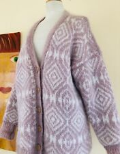 Exquisite Estate Hand-Knit Mohair Lined Icelandic Fluffy Sweater Jacket Sz L XL