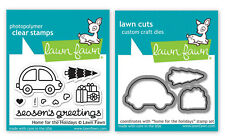 Lawn Fawn Home For Holidays Car Tree Lawn Cuts Dies + Photopolymer Clear Stamps