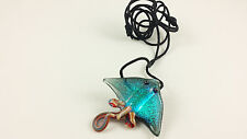 Stingray - Glass Pendant Necklace - handmade boro lampwork dichroic annealed