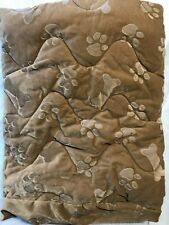 """Drs Foster and Smith Quilted Deluxe Rear Seat Cover 60"""" Tan Paw Prints New"""