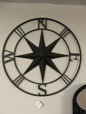 "Metal Compass- 27"" diameter - home decor brown metal- NEW Giftcraft"