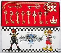 12pcs/ Kingdom Hearts II KEY BLADE Necklace Pendant+Keyblade+Keychain Gold Ver.
