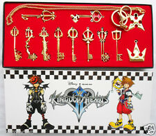 12pcs/ Kingdom Hearts II KEY BLADE Necklace Pendant+Keyblade+Keychain Gold Ver.