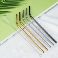 4x Stainless Steel Drinking Metal Straw Reusable Bar Party Curved Straws UK