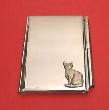 Cat Pewter Motif on Chrome Notebook / Card Holder & Pen Cat Gift Christmas Gift