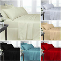 Egyptian Cotton Fitted or Flat Sheet Plain Single Double Super King Satin Stripe